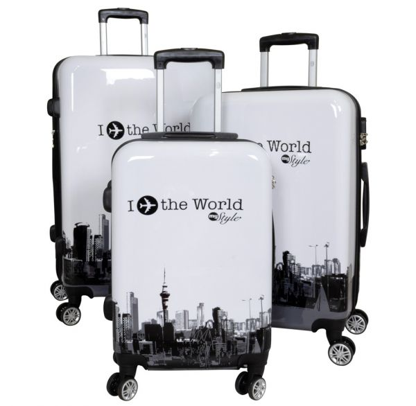 Polycarbonat Kofferset 3tlg Fly the world weiß