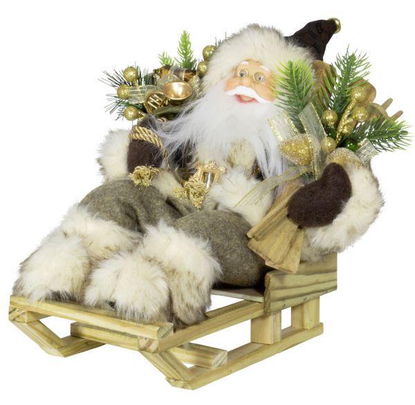 Santa Dennis 30cm auf Schlitten