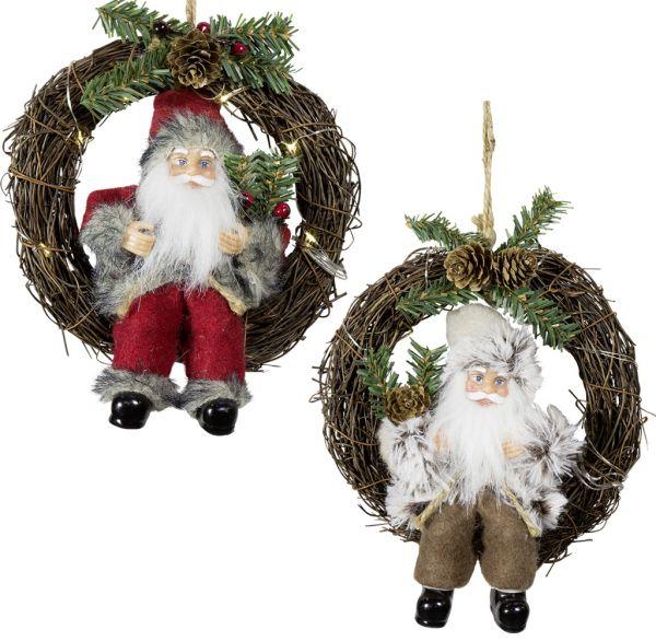 Weihnachtsmann 18cm im Kranz mit LED 2er Set