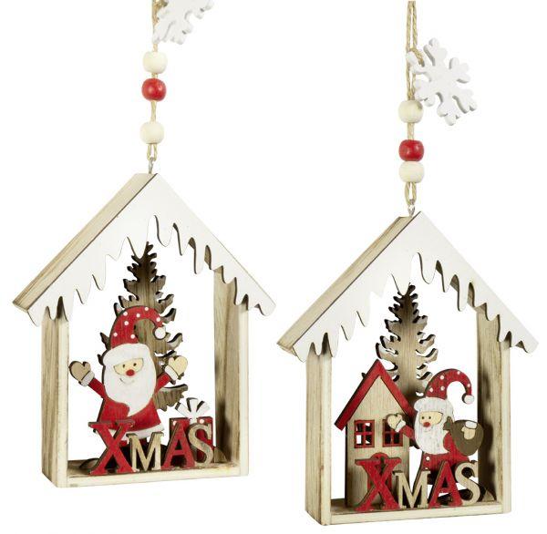Baumschmuck Haus mit Santa 12cm