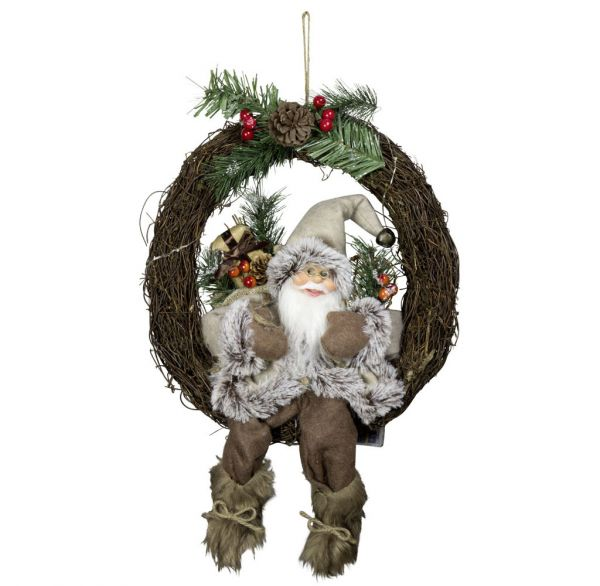 Santa 30cm im Kranz mit LED Licht