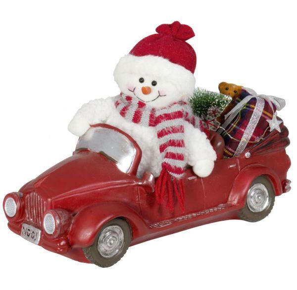 Schneemann im Auto mit LED