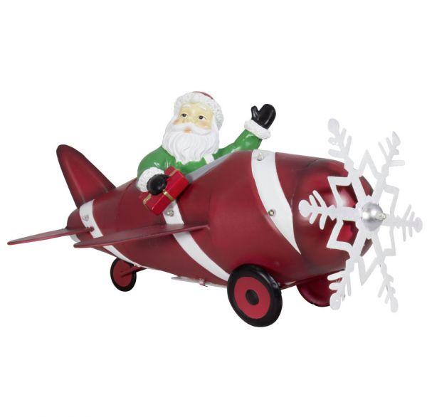 Santa im Flugzeug 33cm LED