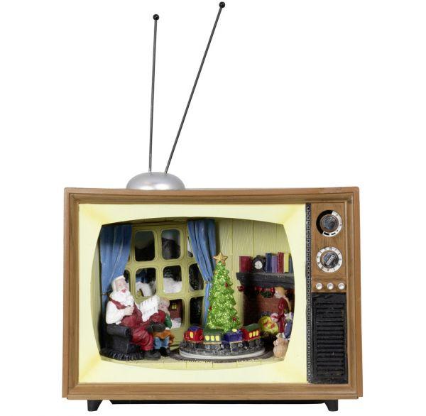 Animierte Weihnachtsszenen Fernseher mit Musik & LED Beleuchtung