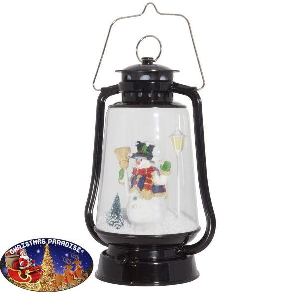 Schneiende LED Laterne 35cm Motiv Schneemann